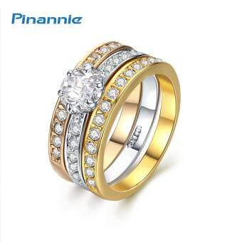 เครื่องประดับแฟชั่น แหวนที่ชุบทอง3สี ฝังเพชร3ชั้นสำหรับงานแต่งงาน งานออกเดท