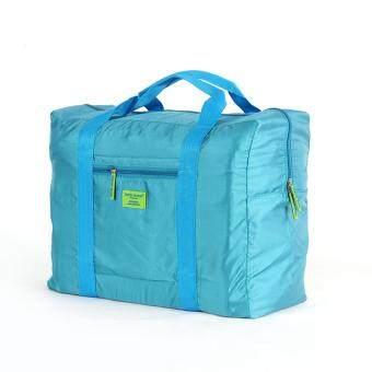 เปรียบเทียบราคา พับเสื้อผ้ากระเป๋ากระเป๋าถือ ความจุขนาดใหญ่แบบพกพาท่องเที่ยวออแกไนเซอร์กระเป๋าเก็บของติดกับกระเป๋าสัมภาระ-ทะเลสาบสีฟ้า