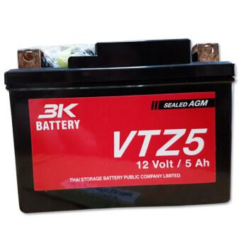 3K แบตเตอรี่แห้ง VTZ-5 (5 แอมป์) ติดรถมอเตอร์ไซค์