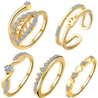 ลาวี 5ชิ้น/แหวนเพชรมงกุฎใบไม้เซ็ตแก้วแหวนเพชรหัวใจ (ทอง) (ในประเทศ)