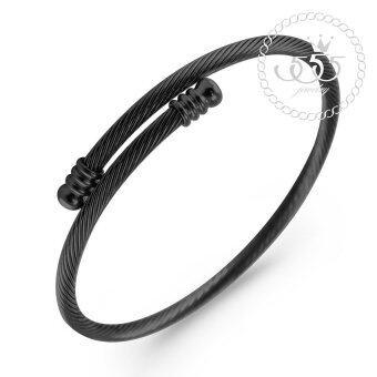 555jewelry 316L Bangle กำไล รุ่น MNC-BG222-D (Black)