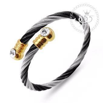 555jewelry cz mnc bg218 d 1500350430 46833281 859abde9dd139c69087096b86fcf6054 product ขายสินค้าแท้ 555jewelry เครื่องประดับ กำไลข้อมือ สแตนเลสสตีล ลายเกลียวประดับ CZ รุ่น MNC BG218 D  สีสตีล ดำ