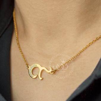 555jewelry สร้อยคอไว้อาลัย ดีไซน์ เลข๙ ประดับ CZ ตัวเรือนทำสีทอง รหัส MNP-265-B (image 0)