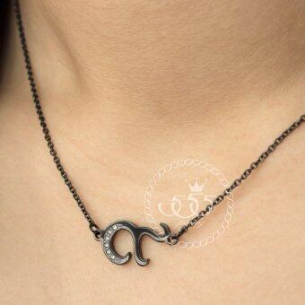 555jewelry สร้อยคอไว้อาลัย ดีไซน์ เลข๙ ประดับ CZ ตัวเรือนทำสีดำ รหัส MNP-265-D (P11)