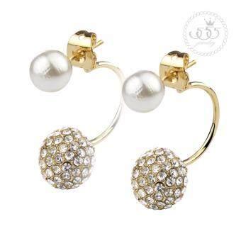 555jewelry ต่างหูสตั๊ดแฟชั่น ดีไซน์สวย ประดับมุกและเพชรสวิส รุ่น MNC-BER016-B1 (BER11)
