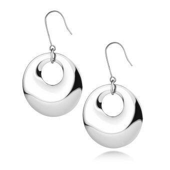 555jewelry ต่างหู สแตนเลสสตีล - แบบห้อยทรงโดนัทผิวปัดเงา (สี - สตีล) รุ่น MNC-ER562-A (ER 25)