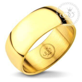 555jewelry แหวนดีไซน์เรียบ สีทอง รุ่น MNC-R162-B2 - แหวนเกลี้ยง แหวนเรียบ ดีไซน์แบบ unisex สแตนเลสสตีล (R73)