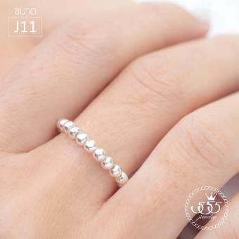 555jewelry แหวนเงินแท้ Silver 925 Elastic Ring MD-SLR039 (SLR-B1) ขนาด J09