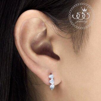 555jewelry ต่างหูเงินแท้ Silver 925 ดีไซน์ ต่างหูห่วง รูปหัวใจสวยเป็นประกาย เพชรสวิส รุ่น MD-SLER036 (SLER-B1)