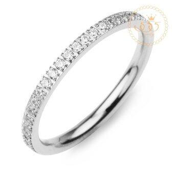 555jewelry StainlessSteel 316L Tiny Ring แหวนประดับเพชรCZรอบวงหน้าเล็กรุ่น MNC-R687-A สีสตีลเงิน