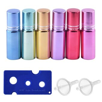 6 PCS 6 Colors Travel Portable Empty Refillable Roll On Roller Ball\nGlass Bottles Vial + 2 PCS Transfer Funnel + 1 PCS Bottle Opener\nSet for Fragrance Aromatherapy Essential Oil Perfume 5ml Capacity -\nintl