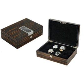 กล่องเก็บนาฬิกา 8 เรือน ลายไม้สีน้ำตาลดำ ประดับแผ่นเหล็ก สวยหรู และหมอนขนาดใหญ่พิเศษ NT Watch Shop Luxurious Collection Watch box - Black with matel plate