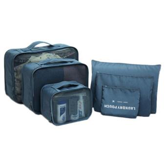 A-shop กระเป๋าจัดระเบียบเสื้อผ้าสำหรับเดินทาง ไซส์ใหญ่- Navy Blue (เซ็ท 6 ชิ้น)