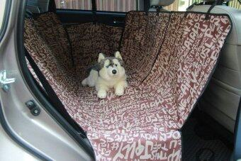 เบาะคลุมรถยนต์สำหรับสุนัข แผ่นรองกันเปื้อนสำหรับสุนัขในรถยนต์แผ่นรองกันเปื้อนเบาะรถยนต์สำหรับสุนัข ผ้าคลุมสำหรับเบาะหลังรถเก๋ง รถ SUV (สีน้ำตาล ลายABC)