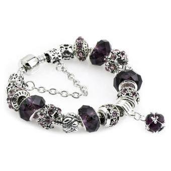 Ai Home Women Girl Crystal Glass Beads Chain Bangle Bracelet M (Black) - intl