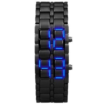 เปรียบเทียบราคา Aidis Water Resistant Electronic Second Generation Binary LED Digital Watch Men Lava Stainless Steel Wristband Black Blue