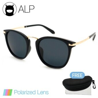 ALP Polarized Sunglasses แว่นกันแดด Vintage Oval Style รุ่น ALP-0019-BKS-BKP (Black/Black)
