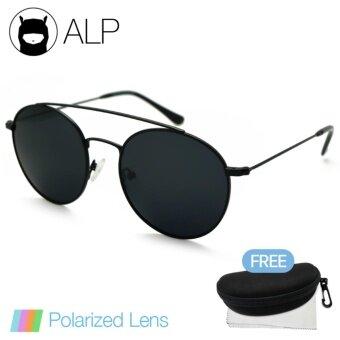 ALP Polarized Sunglasses แว่นกันแดด Vintage Round Style รุ่น ALP-0097-BKT-BKP (Black/Black)