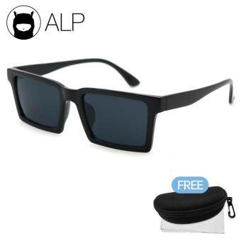ALP Sunglasses แว่นกันแดด Square Wayfarer Style รุ่น ALP-0039-BKS-BK (Black/Black)