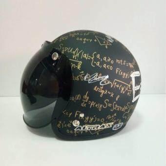 ALTRAX หมวกกันน็อควินเทจคลาสสิค รุ่น MC 2 นวมถอดซักได้ สีดำด้านพร้อมแว่นBUBBLE สีดำ