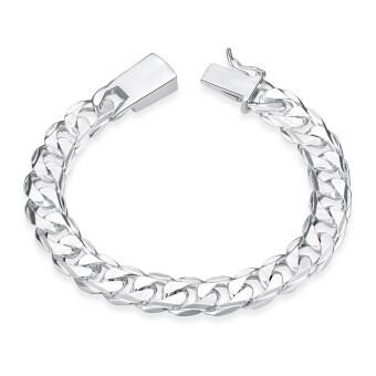 Amart Man's Fashion Jewelry 925 Sterling Silver 10 mm Square BuckleSideways Chain Bracelet For Unisex
