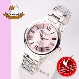 AMERICA EAGLE นาฬิกาข้อมือสุภาพสตรี สายสแตนเลส รุ่น AE071L - Silver / Pink