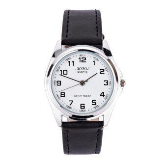 ประเทศไทย AOPOL นาฬิกาข้อมือผู้ชาย สายหนังสีดำ หน้าปัดสีขาว สุดคลาสสิค