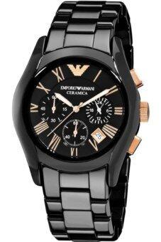 ราคา Armani นาฬิกาข้อมือสำหรับผู้ชาย AR1410 สายเซรามิกสีดำ