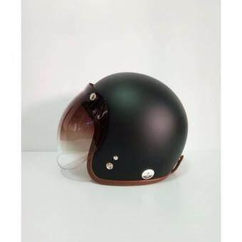 AVEX หมวกกันน็อควินเทจ รุ่นLB สีดำด้าน คิ้วนำ้ตาล พร้อมแว่นbubbleสีทูโทน
