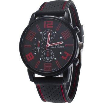BEST นาฬิกาข้อมือชาย Men Watch Military Watch Silicone Black Strap Red Digits