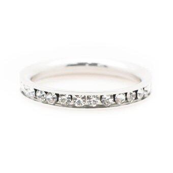 BEWI-G แหวนผู้หญิง สไตล์ แหวนเพชรรอบวง Ring คริสตัลประดับรอบวงชุบทองคำขาว แวววาว เล่นแสงไฟ ดีไซน์หรูหรา รุ่น BG-R0014 สีเงิน(Silver) - 2