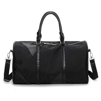 Big Travel Bag Large Capacity Men Women Hand Luggage Packs Oxford Out door Purse Weekend Duffle Shoulder Messenger Black Offroad - intl