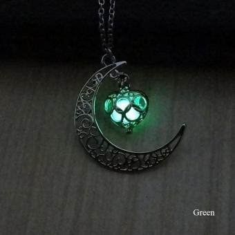BUYINCOINS Crescent Moon Heart Glow in the Dark Necklace Charming Jewelry Luminous Chain Dark Blue - intl - 3