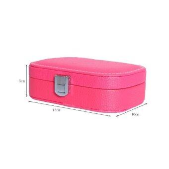 BUYINCOINS Leather Jewelry Box Ring Earring Mirror Display StorageContainer Organizer Case Pink - intl - 4