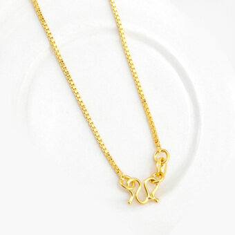 CADIS 24K Gold With The True Gold Plated Charming Box Chain LadiesNecklace (Just Chain) - intl