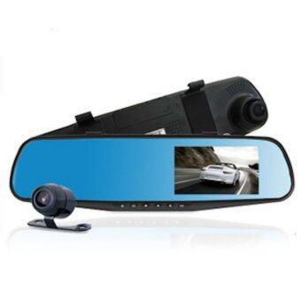 Car Black Box DVR กล้องติดรถยนต์ แบบกระจกมองหลังพร้อมกล้องติดท้ายรถ FHD1080P (สีดำ)