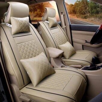 Car Seat Covers Set PU LeatherUniversal Auto Seat 5 Covers Full Set Bucket Anti-SlipBeige Size L - intl