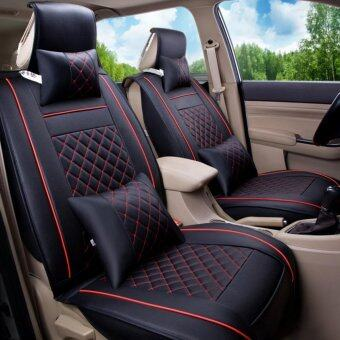 Car Seat Covers Set PU LeatherUniversal Auto Seat 5 Covers Full Set Bucket Anti-SlipBlack and Red Size M - intl