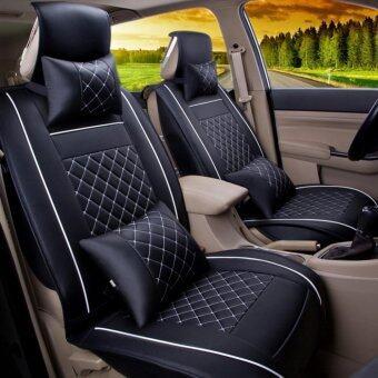 Car Seat Covers Set PU LeatherUniversal Auto Seat 5 Covers Full Set Bucket Anti-SlipBlack and White Size M - intl