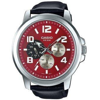 Casio นาฬิกา ชายสายหนัง ตัวเรือน ใหญ่แนวสปอร์ต 3 หน้าปัด หน้าปัด แดง MTP-X300L-4AVDF (แดง)