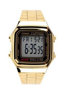 Casio นาฬิกาข้อมือชาย สายสแตนเลส รุ่น A178WGA-1ADF-Gold/Black