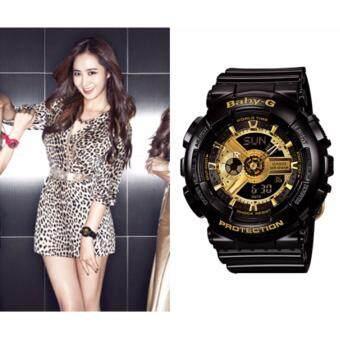 Casio Baby-G นาฬิกาข้อมือผู้หญิง สีดำ/ทอง สายเรซิ่น รุ่น BA-110-1A