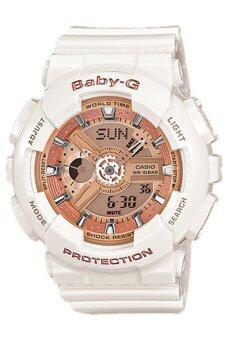 Casio Baby-G นาฬิกาข้อมือผู้หญิง สีขาว/พิงค์โกล สายเรซิ่น รุ่นBA-110-7A1 ประกันCMG