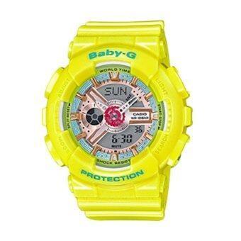 ราคา Casio Baby-G นาฬิกาข้อมือผู้หญิง สีนีโอพาสเทล สีเหลือง สายเรซิ่น รุ่น BA-110CA-9A
