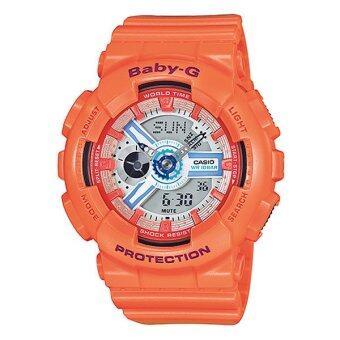 ราคา Casio Baby-G นาฬิกาข้อมือผู้หญิง สายเรซิ่น รุ่น BA-110SN-4A (สีส้ม)