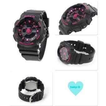 Casio Baby-G นาฬิกาข้อมือผู้หญิง สีดำ/ชมพู สายเรซิ่น รุ่น BA-111-1A