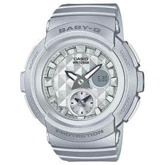 Casio Baby-G นาฬิกาข้อมือผู้หญิง สายเรซิ่น รุ่น BGA-195-8A - สีเงิน