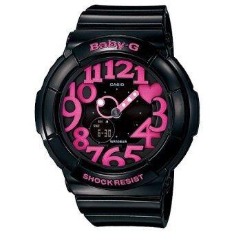 Casio Baby-G นาฬิกาข้อมือผู้หญิง สายเรซิ่น รุ่น BGA-130-1B (สีดำ/ชมพู)