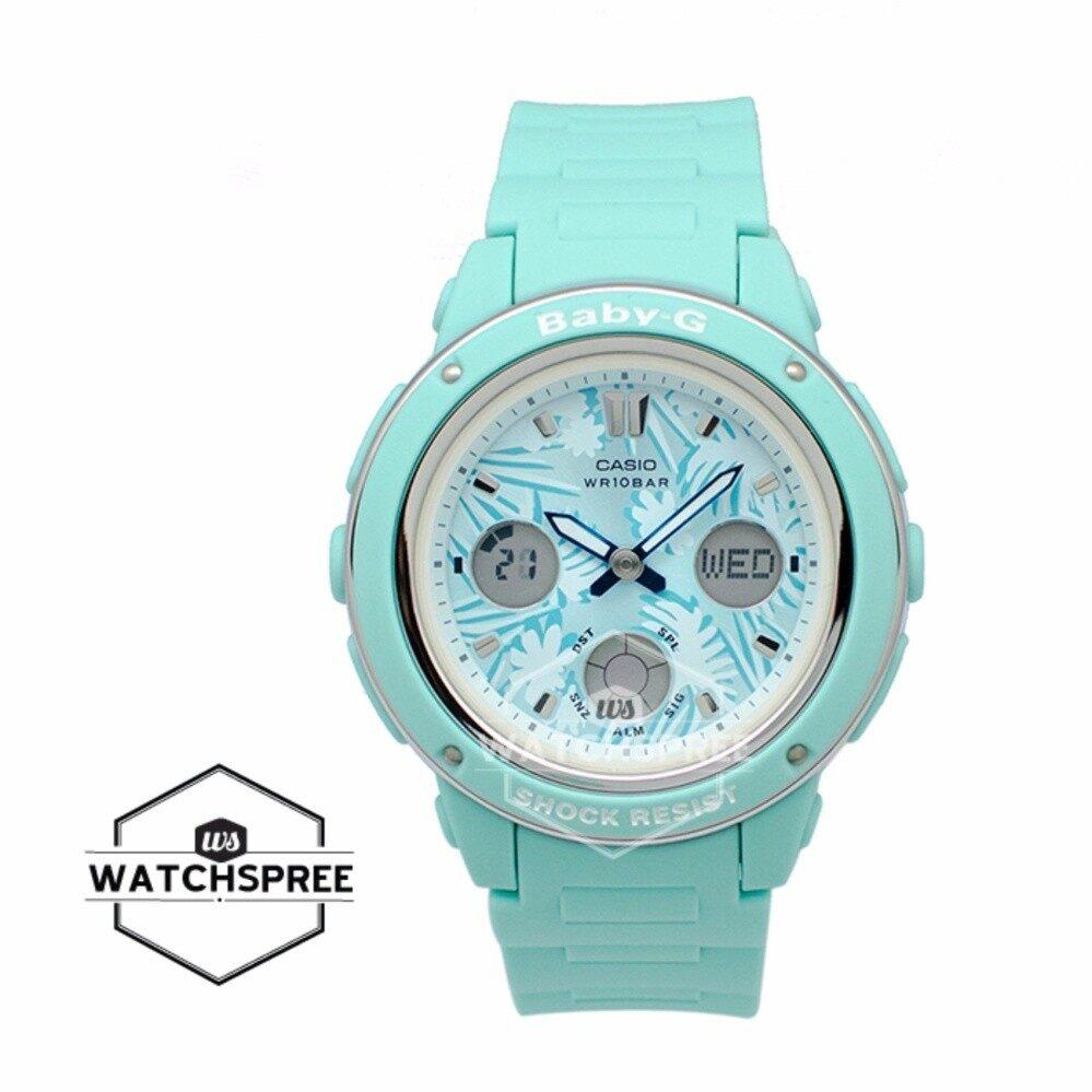สอนใช้งาน  กำแพงเพชร Casio Baby-G นาฬิกาแบรนด์แท้ 100% สายสีเขียวน้ำทะเล รุ่น BGA150F-3A BGA-150F-3A BGA-150F-3ADR ( สีเขียว )