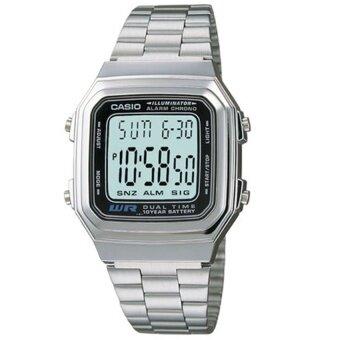 Casio นาฬิกาข้อมือผู้ชาย Black/Silver สายสเเตนเลส รุ่น A178WA-1ADF